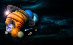 Zonnestelsel acht planeten royalty-vrije illustratie