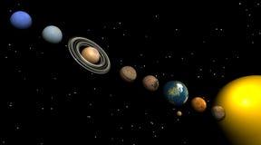 Zonnestelsel in de nacht Stock Afbeelding