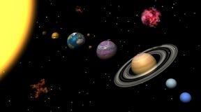 Zonnestelsel en nebulas stock illustratie