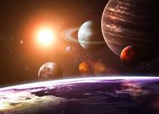 Zonnestelsel en ruimtevoorwerpen stock foto's