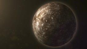Zonnestelsel - Kwik Het is het kleinst en dichtst aan de Zon van de acht planeten in het Zonnestelsel, met stock illustratie