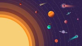 Zonnestelsel met kometen op heelal vectorillustratie als achtergrond Stock Afbeelding