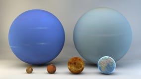 Zonnestelsel, planeten, grootte, afmetingen Royalty-vrije Stock Foto's