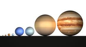 Zonnestelsel, planeten, grootte, afmetingen royalty-vrije illustratie