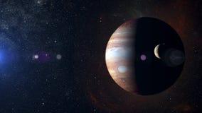 Zonnestelselplaneet Jupiter op nevelachtergrond Stock Foto