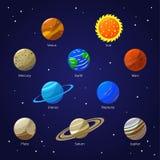 Zonnestelselplaneten en Zon Vector royalty-vrije illustratie