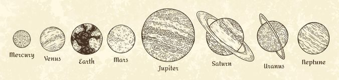 Zonnestelselplaneten het graveren Hand getrokken hemelplaneetparade Uitstekende planetarische vectorschetsillustratie royalty-vrije illustratie