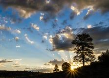 Zonnestraal bij zonsopgang stock fotografie