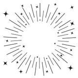 Zonnestraal om zwarte lijncirkel Het glanzen effect met sterren Abstracte vorm Vlak ontwerp Retro barstende stralen Decoratie ele royalty-vrije illustratie