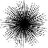 Zonnestraal, starburst vormzwarte op wit Het element van het ontwerp Het uitstralen van radiaal samenvoegend lijnen, strepen of v stock illustratie