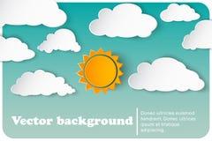 Zonnig-bewolkt document als achtergrond vector illustratie
