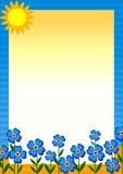 Zonnig dag bloemenframe voor berichtenfoto's Stock Foto