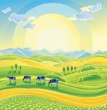 Zonnig de zomerlandschap vector illustratie
