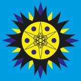 Zonnig geel-blauw embleem op een blauwe achtergrond Royalty-vrije Stock Foto