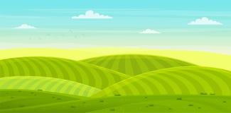Zonnig landelijk landschap met heuvels en gebieden De groene heuvels van de zomer stock illustratie