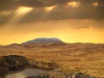 Zonnig landelijk landschap in Schotland Royalty-vrije Stock Afbeeldingen