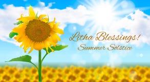 Zonnig landschap met een gebied van zonnebloemen De zomerzonnestilstand vector illustratie