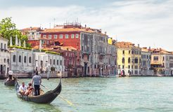 Zonnig panorama van Grand Canal in Venetië royalty-vrije stock foto's