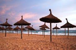 Zonnig strand in zonsondergang Stock Fotografie