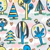 Zonnig van de de wildernisvogel van de regenboom vrij de tekenings naadloos patroon royalty-vrije illustratie