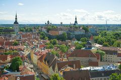 Zonnige augustus-dag in oud Tallinn, Estland stock afbeeldingen