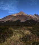 Zonnige berg Blauwe Hemel hierboven Groen grasgebied Landschap zonder mensen stock afbeelding