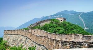 Zonnige dag bij de grote muur van China royalty-vrije stock foto