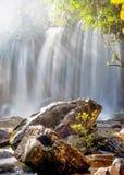 Zonnige dag bij tropisch regenwoudlandschap met stromend water o Royalty-vrije Stock Afbeeldingen