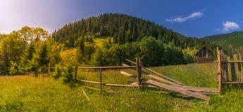 Zonnige dag in de bergen van de Karpaten royalty-vrije stock afbeeldingen