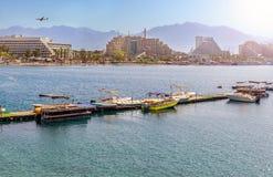 Zonnige dag in Eilat - beroemde toevluchtstad in Israël stock foto