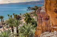 Zonnige dag in Eilat - beroemde toevluchtstad in Israël stock foto's