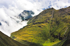 Zonnige dag op hogere alpen Panoramische mening Alpes stock afbeelding