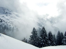 Zonnige dag op ski met mist Stock Afbeeldingen