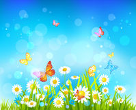 Zonnige dagachtergrond met bloemen en vlinders royalty-vrije illustratie