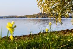 Zonnige de herfstdag op het meer Rusland oeralgebergte Chernoistochinsk Royalty-vrije Stock Foto