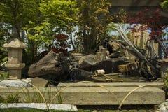 Zonnige de zomer Japanse tuin met waterval stock foto's