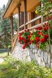 Zonnige die veranda van een blokhuis met rode geranium in volledige bloesem wordt verfraaid royalty-vrije stock foto's