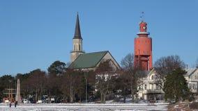 Zonnige februari-dag in de stad van Hanko finland stock videobeelden