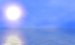 Zonnige Hemel en Oceaan Stock Foto