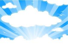 Zonnige hemel met wolken en zonnestralen stock illustratie