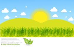 Zonnige het landschapsachtergrond van de Weide Stock Illustratie