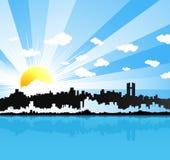 Zonnige stedelijke panoramaachtergrond Royalty-vrije Stock Foto