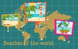 Zonnige stranden op de wereld royalty-vrije illustratie