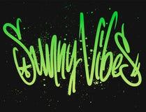 Zonnige vibes Moderne kalligrafie, hand het van letters voorzien Vector illustratie stock illustratie
