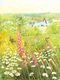 Zonnige weide met vlinders en birds_illustration stock illustratie