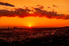 Zononderdompelingen onder de horizon van Los Angeles Royalty-vrije Stock Foto's
