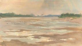 Zonovergoten rivier Royalty-vrije Stock Afbeeldingen