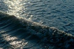 Zonovergoten zeegezicht met golven Stock Fotografie