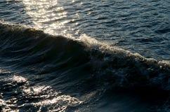Zonovergoten zeegezicht met golven Royalty-vrije Stock Afbeeldingen
