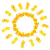 Zonpictogram door oranje stukken wordt gemaakt dat Stock Foto